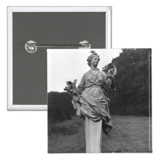 Summer, statue in the gardens pinback button