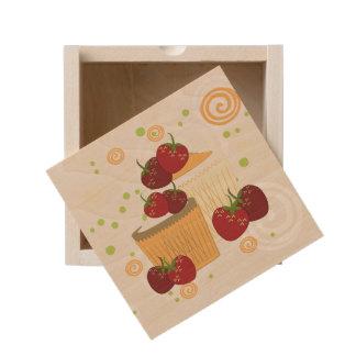 Summer Strawberries And Cupcakes Art Wooden Keepsake Box