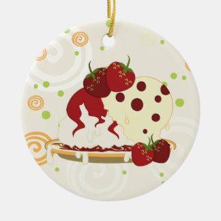 Summer Strawberries And Ice Cream Art With Pattern Ceramic Ornament