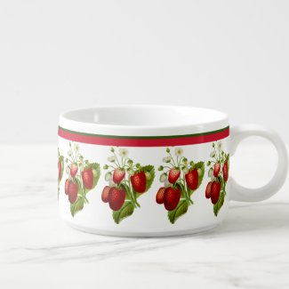Summer Strawberries with Red Striped Border Bowl