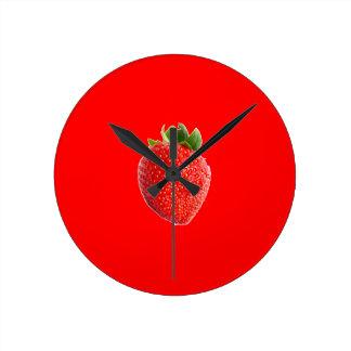 Summer Strawberry Round Clock