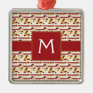 Summer Strawberry Sweet Treats Pattern - Initial Metal Ornament