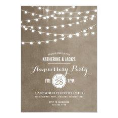 "Summer String Lights Anniversary Party Invitation 5"" X 7"" Invitation Card at Zazzle"