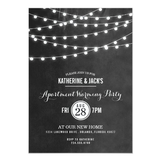 Summer String Lights Engagement Party Invitation : Summer String Lights Apartment Warming Party 5x7 Paper Invitation Card Zazzle