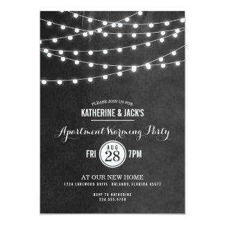 Summer String Lights Apartment Warming Party Card