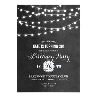 """Summer String Lights Birthday Party Invitation 5"""" X 7"""" Invitation Card"""