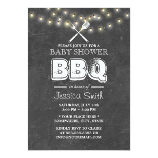 Summer String Lights Chalkboard Baby Shower BBQ 5x7 Paper Invitation Card