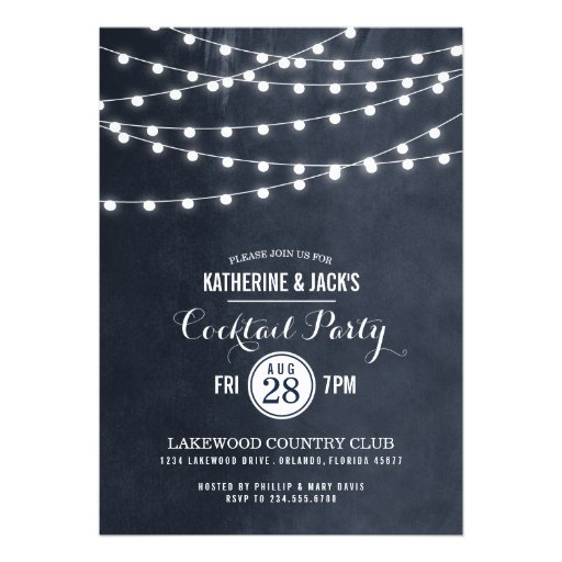 Summer String Lights Cocktail Party Personalized Invites