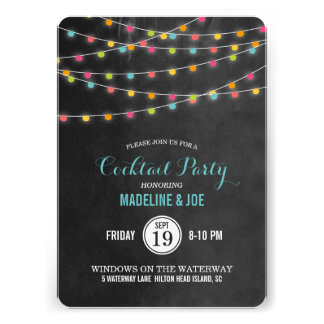 Summer String Lights Cocktail Party Invitation