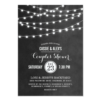 Summer String Lights Couples Shower 5x7 Paper Invitation Card