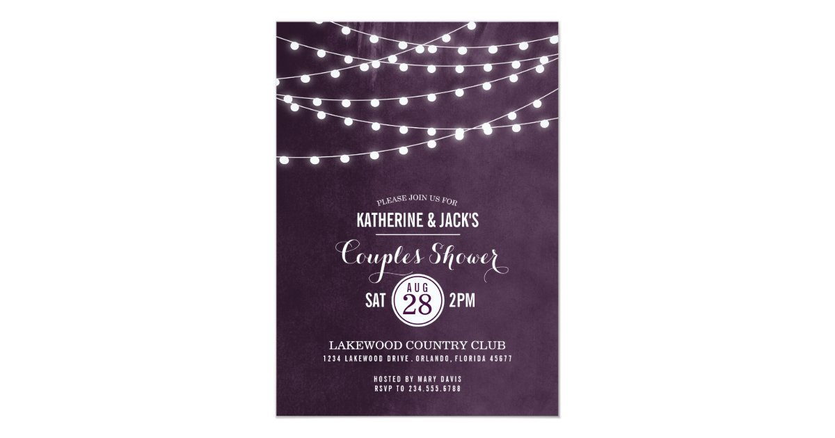 Zazzle String Lights : Summer String Lights Couples Shower Invitation Zazzle