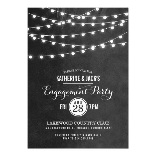 Summer String Lights Engagement Party Invitation