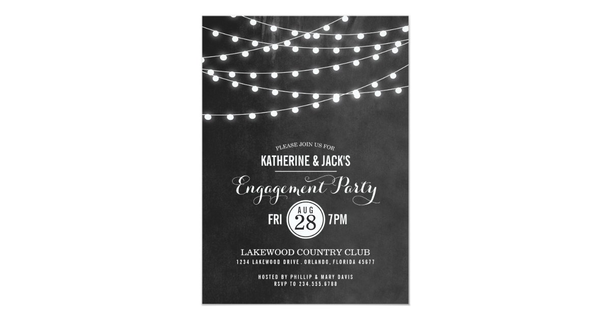 Summer String Lights Engagement Party Invitation Zazzle