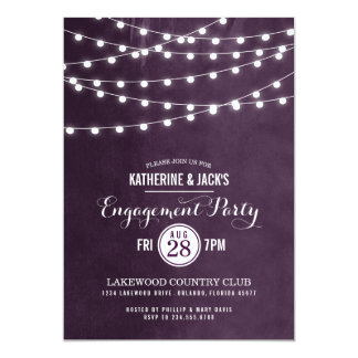 "Summer String Lights Engagement Party Invitation 5"" X 7"" Invitation Card"