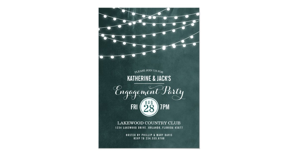 Summer String Lights Engagement Party Invitation : Summer String Lights Engagement Party Invitation Zazzle