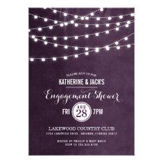 Summer String Lights Engagement Shower Invitation