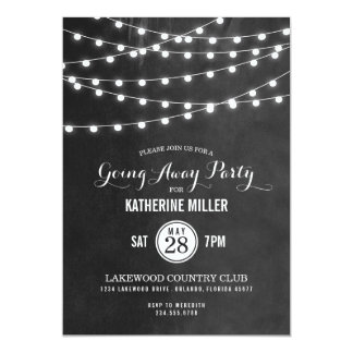 Summer String Lights Going Away Party Card