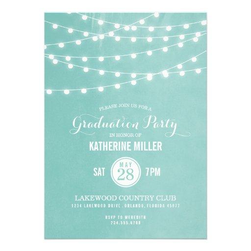 Summer String Lights Graduation Party Custom Invitation