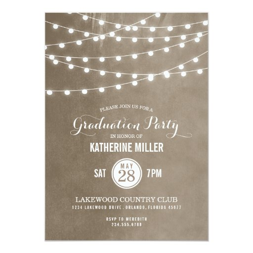 Summer String Lights Graduation Party Personalized Invitation