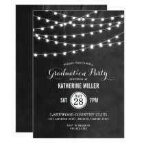 Summer String Lights Graduation Party Invitation