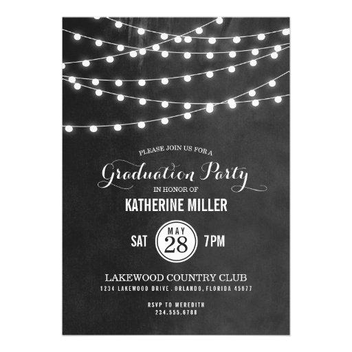 Summer String Lights Graduation Party Custom Invite