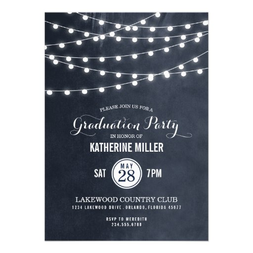 Summer String Lights Graduation Party Invitation