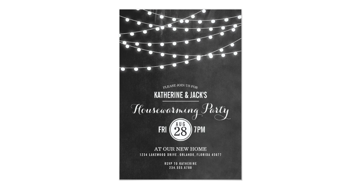 Summer String Lights Engagement Party Invitation : Summer String Lights Housewarming Party Invitation Zazzle