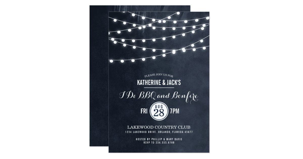 Summer String Lights Engagement Party Invitation : Summer String Lights I Do BBQ Invitation Zazzle
