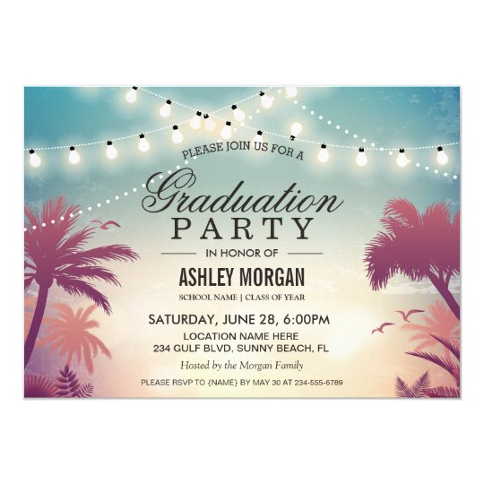 Summer party invitations announcements zazzle summer string lights outdoor graduation party card stopboris Gallery