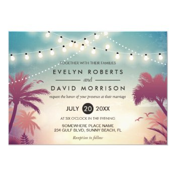 Summer String Lights Palm Tree Outdoor Wedding Card by CardHunter at Zazzle