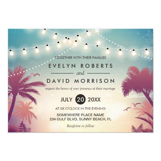 Summer String Lights Palm Tree Outdoor Wedding Invitation Zazzle Com
