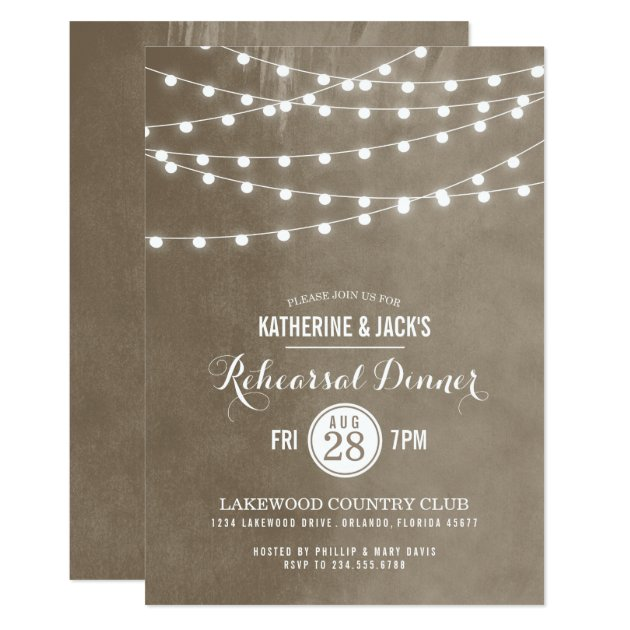 Summer String Lights Rehearsal Dinner Invitation | Zazzle