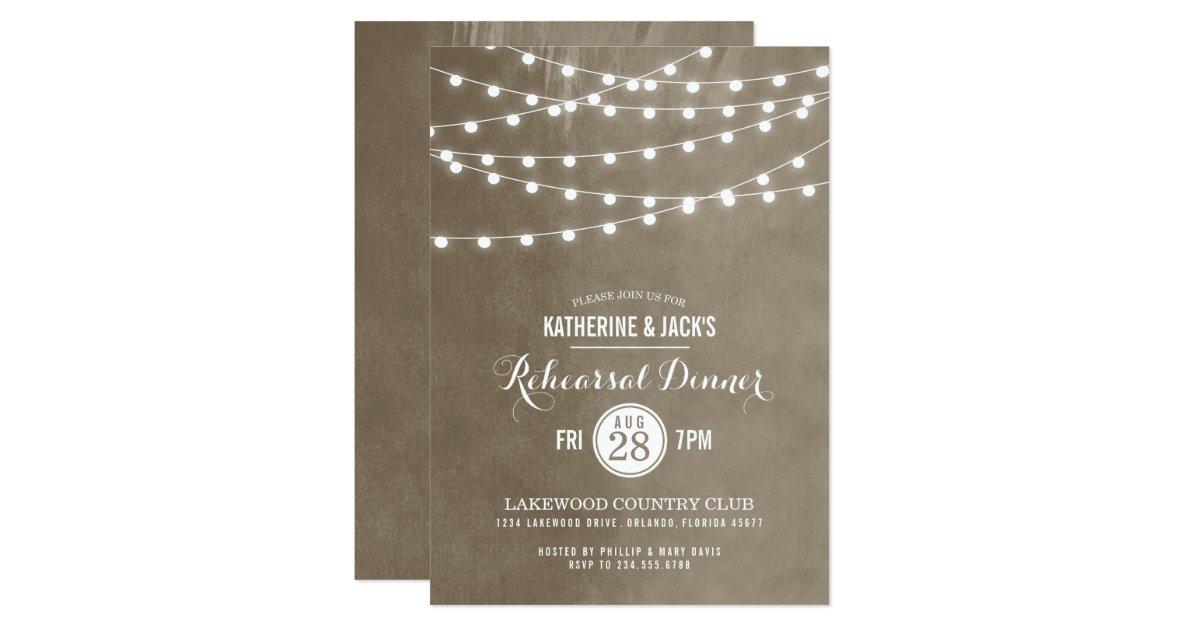 Summer String Lights Rehearsal Dinner Invitation – Rehearsal Party Invitations