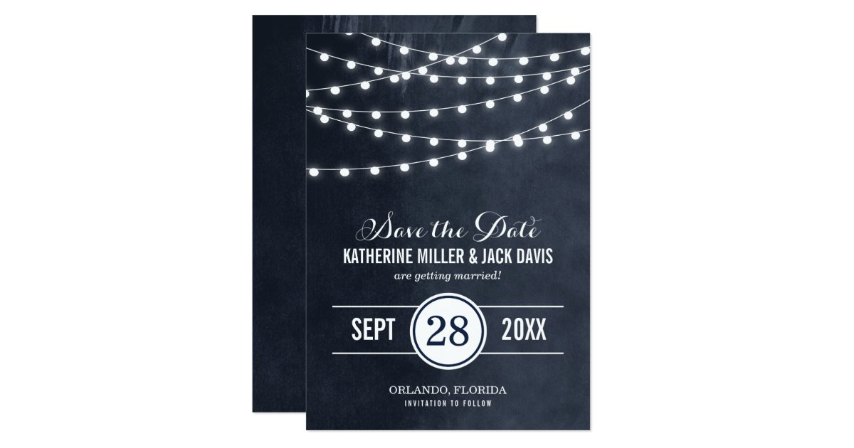 Summer String Lights Save the Date Announcement Zazzle