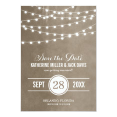"""Summer String Lights Save the Date Announcement 5"""" X 7"""" Invitation Card at Zazzle"""