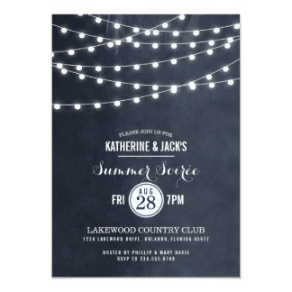 Summer String Lights Soiree Party Card