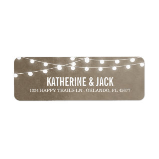 Summer String Lights Wedding Address Labels at Zazzle