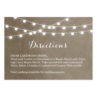 Summer String Lights Wedding Directions Insert Large Business Cards (Pack Of 100)