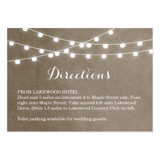 Summer String Lights Wedding Directions Insert Large Business Card