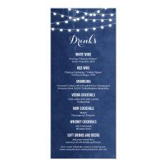 Summer String Lights Wedding Drink Menu Card at Zazzle