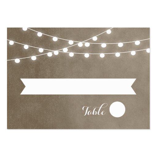 Summer String Lights Wedding Escort Cards Business Card