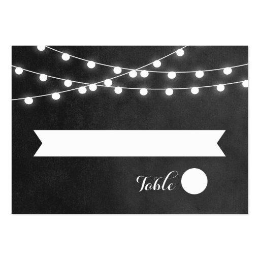 Summer String Lights Wedding Escort Cards Business Card Template