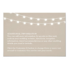 Summer String Lights Wedding Insert Card at Zazzle