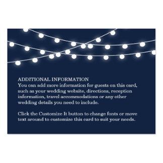 Summer String Lights Wedding Insert Card Large Business Cards (Pack Of 100)