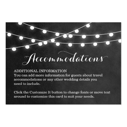 Summer String Lights Wedding Insert Card Business Card Template