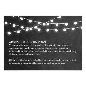 "Summer String Lights Wedding Insert Card 3.5"" X 5"" Invitation Card at Zazzle"