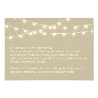 """Summer String Lights Wedding Insert Card 3.5"""" X 5"""" Invitation Card"""