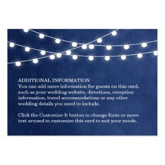 Summer String Lights Wedding Insert Card Large Business Card