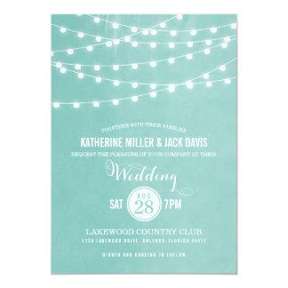 """Summer String Lights Wedding Invitation 5"""" X 7"""" Invitation Card"""