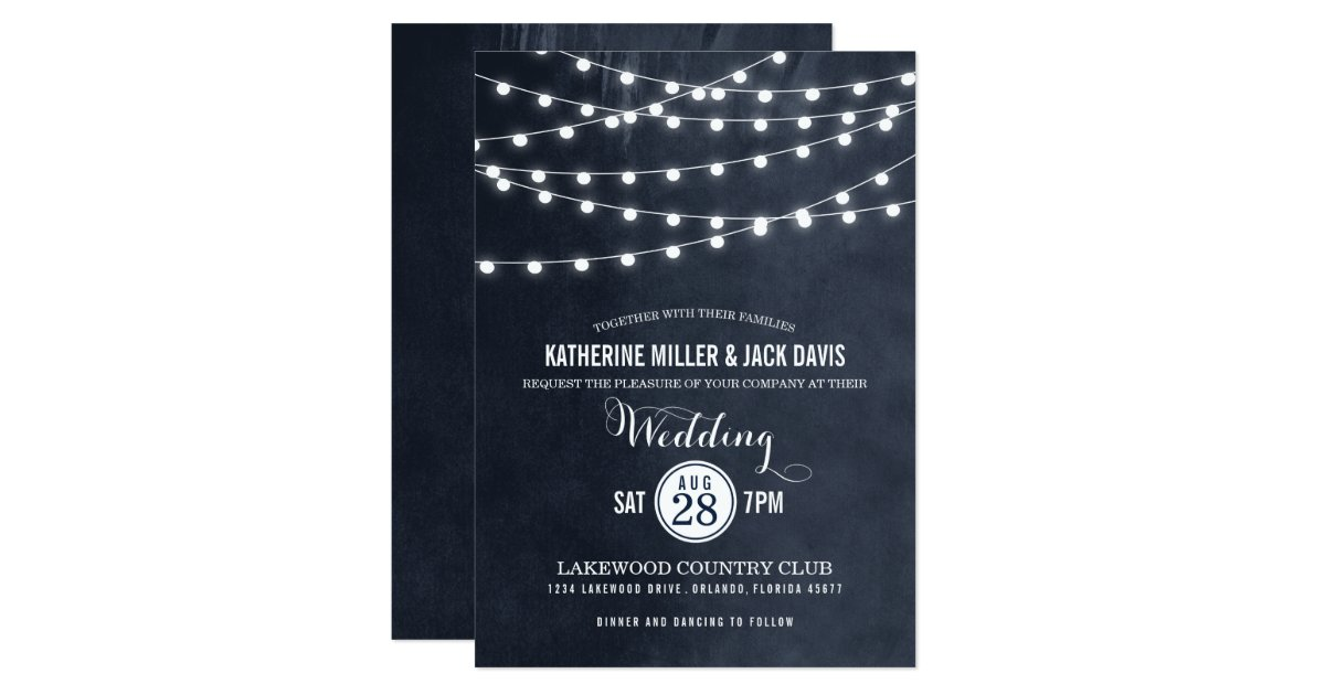 Summer String Lights Engagement Party Invitation : Summer String Lights Wedding Invitation Zazzle